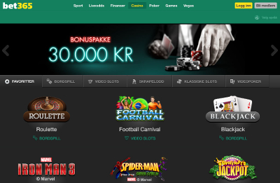 Bet 365 iPad Casino skjermbilde
