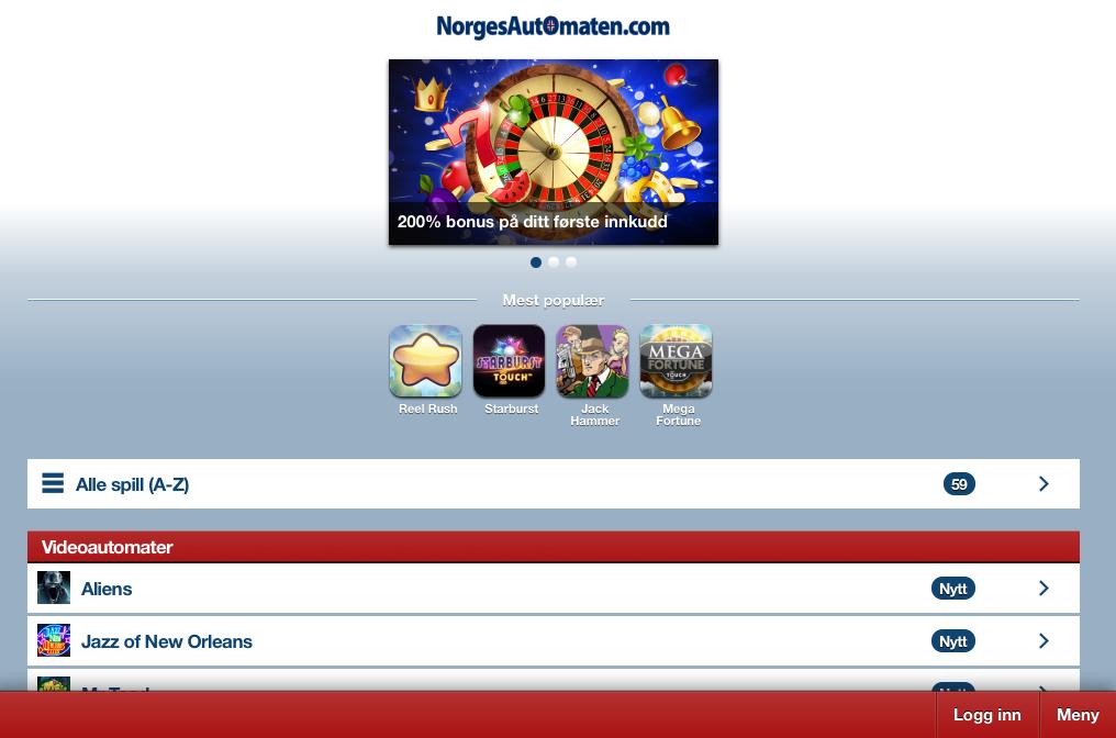 Norgesautomaten iPad Casino skjermbilde