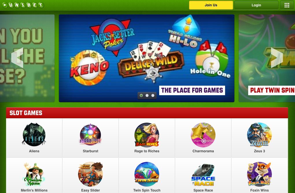 Unibet Casino skjermbilde